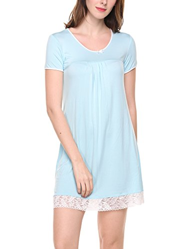 (Hotouch Women's Sleep Long Length Nightshirt Light Blue M)