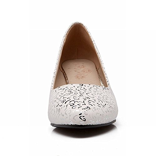 Carolbar Fashion Womens Printing Cuff Elegance Chunky Mid Heel Pumps Shoes White ngMBXo