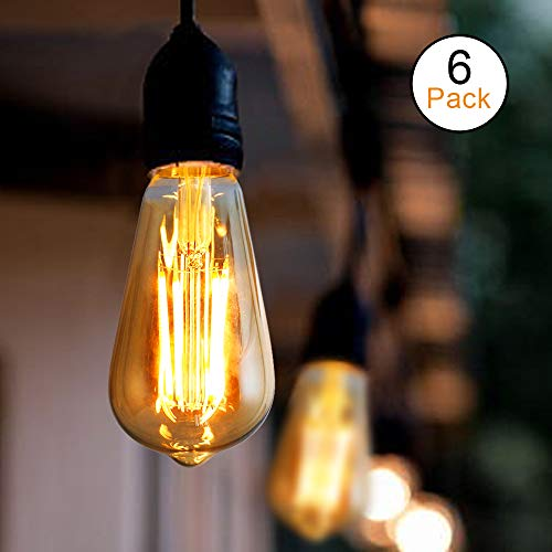 Ascher Vintage LED Edison Bulbs, Dimmable, 6W, Equivalent 60W, 700 Lumens, 2200K Amber Warm White(Amber Gold Glass), ST58 Antique Style Filament Bulbs, E26 Medium Base, Pack of 6