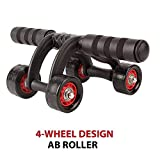 Getzon Training Equipment ABS Belly Trainer Plastic 4-Wheel Abdominal Wheel Power Ab Roller for Home Gym Muscle Exercise Fitness Training Equipment