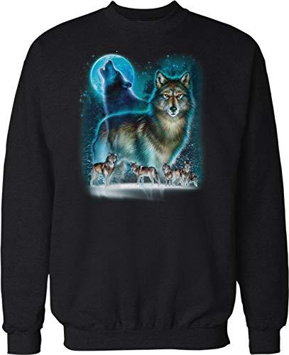 Hoodteez Wolf Moon Silhouette, Wolf Howling Crew Neck Sweatshirt, XXL ()