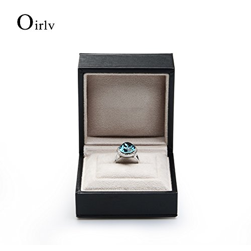 Oirlv Black PU Leather Wedding Ring Box Jewelry Packaging Gift Box Showcase Display