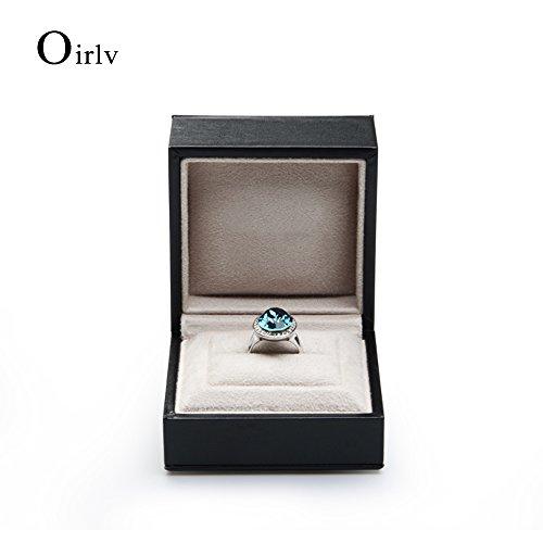 Oirlv Black PU Leather Wedding Ring Box Jewelry Packaging Gift Box Showcase Display