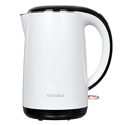 Secura 1.8 Quart Stainless Steel Electric Water Kettle Double Wall Cool Touch Exterior