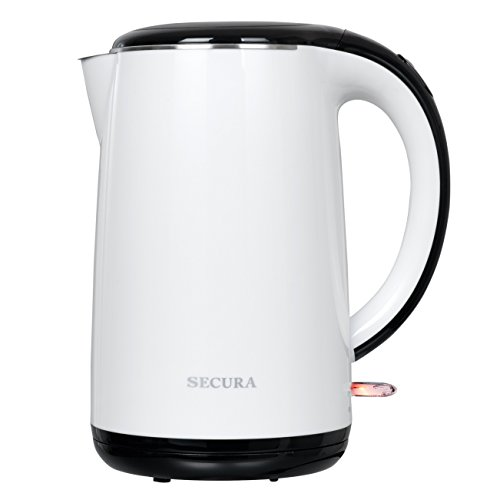 Secura 1.8 Quart Stainless Steel Electric Water Kettle Double Wall Cool Touch Exterior (White)