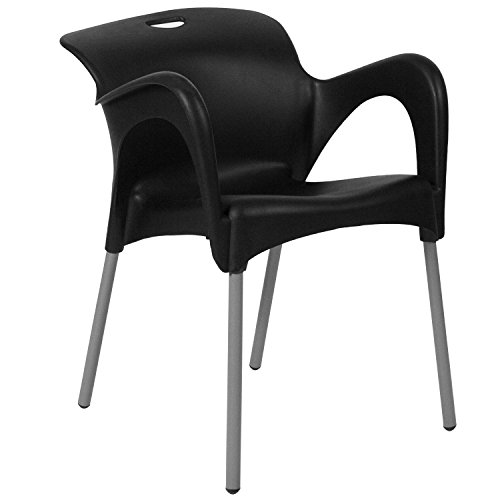 Flash Furniture HERCULES Series Black Plastic Stack Chair with Arms and Titanium Frame by Flash Furniture