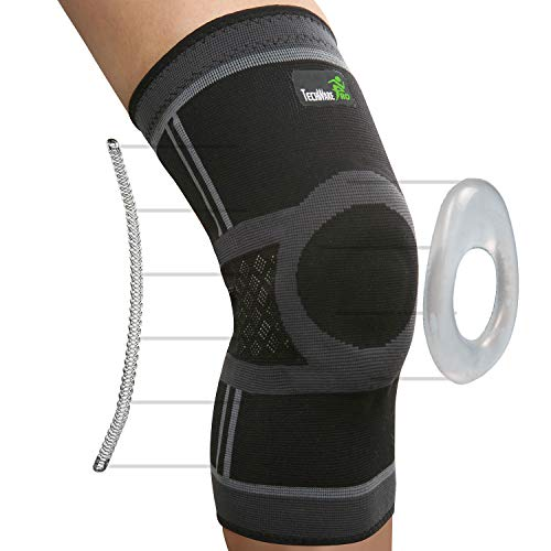 TechWare Pro Knee Compression Sleeve - Knee Brace for Men & Women with Side Stabilizers & Patella Gel Pads for Knee Support. Meniscus Tear