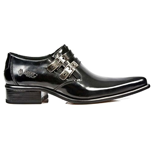 New Rock Hommes Noir cuir vŽritable Newman intelligents / Chaussures formelles