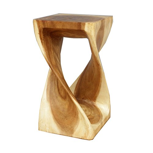 Southeast Asian Solid Wood Stool, Hand-Made Solid Wood Sofa Stool Flower Stand Stool, Teak Carved Stool Chair (28 28 50CM)