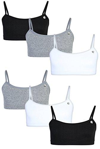 (Limited Too Girls\' Seamless Training Bra, 6-Pack, Black/White/Heather Grey, Large/14-16')