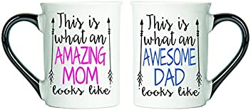 Tumbleweed - Amazing Mom And Awesome Dad - TWO Large 18 Ounce Ceramic Coffee Mugs - Mom And Dad Gifts - Mom And Dad Mugs