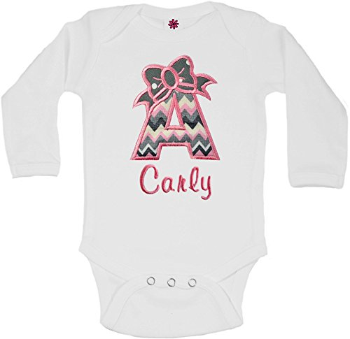 - Baby Girl Embroidered Initial Onesie Bodysuit - Your Custom Name (6-12 Months - Long Sleeve, Pink & Gray Chevron)