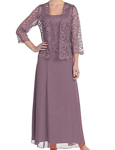 Mother The Bride Dress Lace Mother Dress Long Formal Gown Jacket Mauve 20W