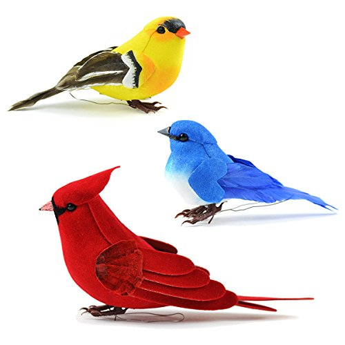 Clever Birdhouse - Set of 3 Artificial Birds for Decoration, Floral Arrangements and Arts & Crafts | Red Cardinal, Mountain Bluebird & American Goldfinch