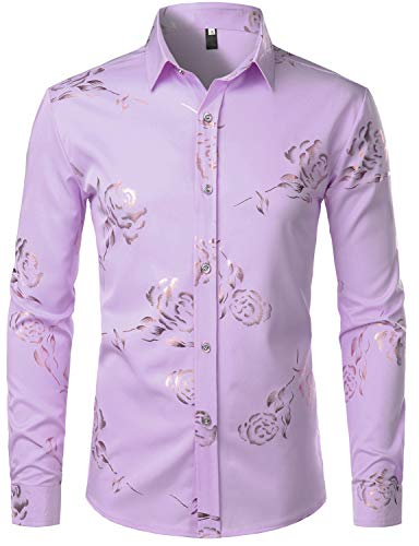 ZEROYAA Mens Hipster Gold Rose Printed Slim Fit Long Sleeve Dress Shirts/Prom Performing Shirts Z56 Lavender - Modern Fit Hipster