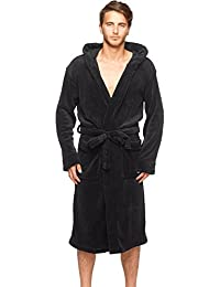 Wanted Men's Bathrobe Hooded Robe Plush Micro Fleece with Front Pockets