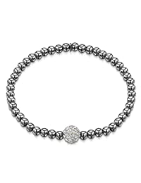 Amberta 925 Sterling Silver - 4 mm Beaded Stretch Bracelet with Zirconia 8 mm Ball CZ Crystal Charm - Elastic Fit Up to 7.5 inch