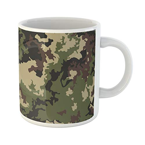 Tarolo 11 Oz Mug Coffee Mug Ceramic Tea Cup Camouflage Pattern Classic Masking Camo Green Brown Black Olive Colors Forest Military Army Hunting Large C-handle Family and Office Gift