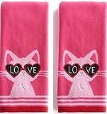 Love Cat 2-Pack Valentine Cotton Kitchen Bath Hand Towels, Pink