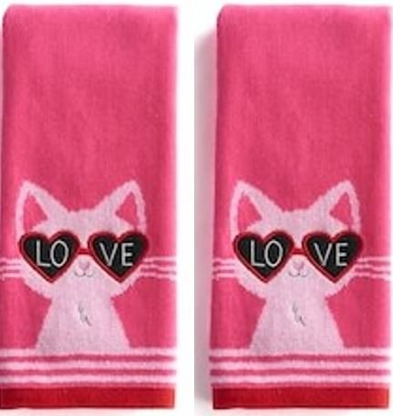 Cat Menorah (Love Cat 2-Pack Valentine Cotton Kitchen Bath Hand Towels, Pink)