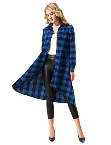 Yidarton Mujer Camisa Larga Cuadros Con Botón Tapas Blusa Manga Larga Camiseta Vestido Azul