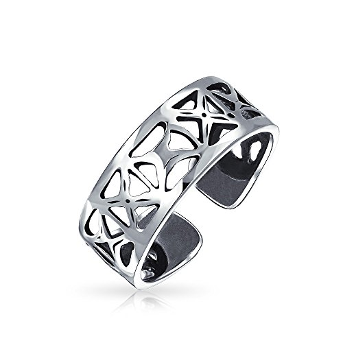 Cut-Out Open X Filigree Wide Midi Band Toe Ring For Women 925 Silver Sterling Adjustable