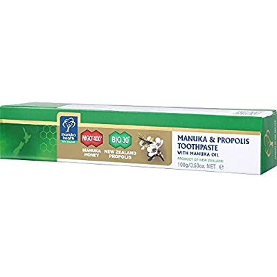 Manuka Health - Manuka & Propolis Toothpaste, Helps Fight Plaque and Tooth Decay with Fluoride Free, MGO 400+ Honey and BIO30 Propolis, 3.5 oz (100 g)