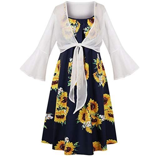 Women's Dresses Cropped Cardigan Sets - Sunflower Spaghetti Strap Summer Swing Dress Shrug 2 Piece Outfit White