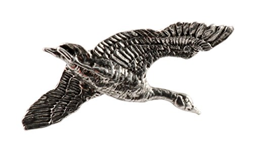 Creative Pewter Designs, Pewter Canada Goose Flying, Handcrafted Bird Lapel Pin Brooch, Antique Finish, B001 (Flying Bird Pin)