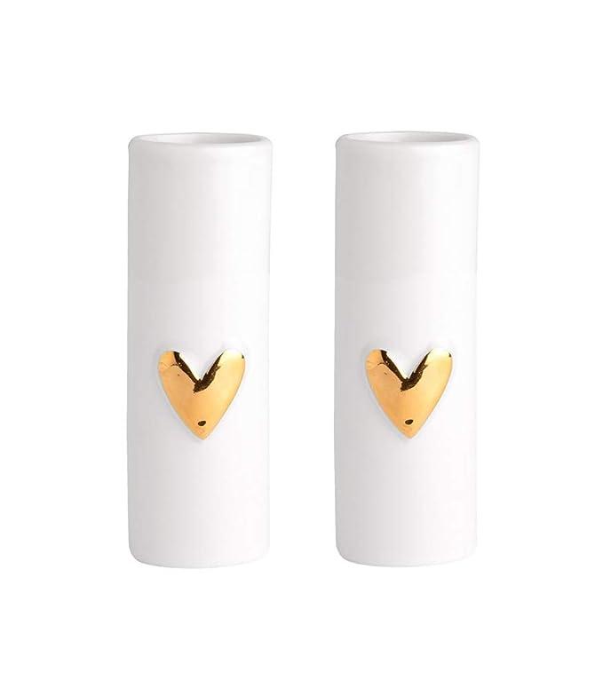 3,5 x 9 cm Juego de 2 jarrones peque/ños con Forma de coraz/ón Color Dorado R/äder Wolke Sieben