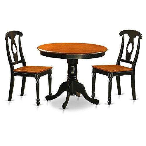 East West Furniture ANKE3-BLK-W Antique Black 3 Piece Dining