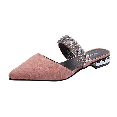 Sunhusing Women's Pointed Toe Solid Color Rhinestone Sandals Square Root Half-Slip Slippers Single Shoes Pink