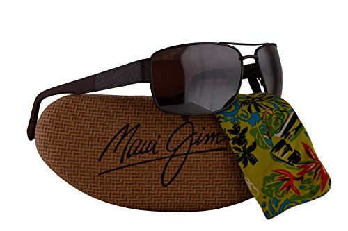 Maui Jim Ohia Sunglasses Satin Dark Gunmetal Burgundy w/Polarized Maui Rose Lens - Sunglasses Designer Closeout