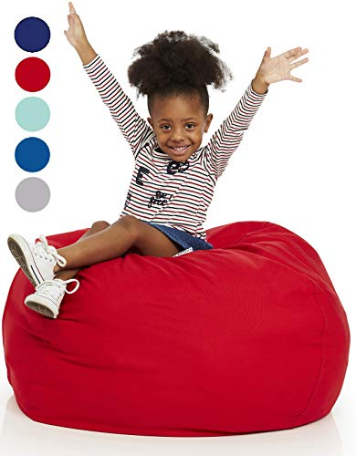 (Delmach Stuffed Animal Bean Bag | 100% Cotton Canvas (Red) | Storage Bean Bag Cover | Cool Kids Chair | Room Organization | Toy Storage Bag | Extra Large 38