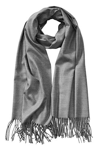 MBJ Shawls and Wraps Elegant Cashmere Scarfs for Women Stylish Warm Blanket Solid Winter Scarves OneSize Heather_Grey
