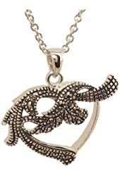 Open Heart Pendant with Swirls and Genuine Marcasite