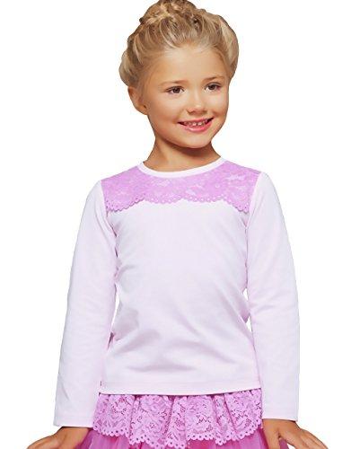 Petite Amelia Little Girls Long Sleeve Lace Top, Size 4, Light Pink
