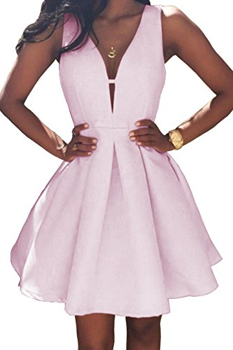 Women's V-Neck A-line Satin Short Homecoming Dress Evening Party Ball Gown Ruched Skirt Size 2 Pink ()
