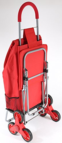 dbest products Stair Climber Trolley Dolly with Seat, Red Shopping Grocery  Foldable Cart Tailgate