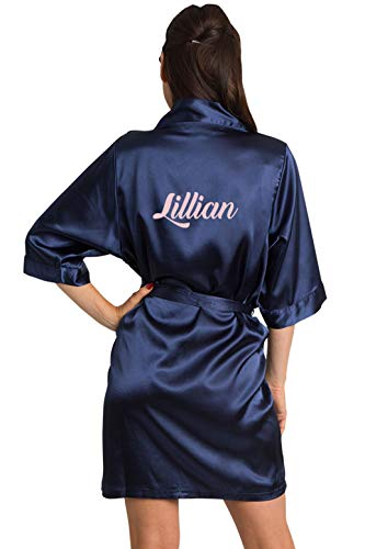 (Girleo Women's Personalized Name, Custom Titles or Phrases-Bride Bridesmaid Mother of The Bride Maid of Honor Mother of The Groom Navy Satin Robe S/M 4-12)
