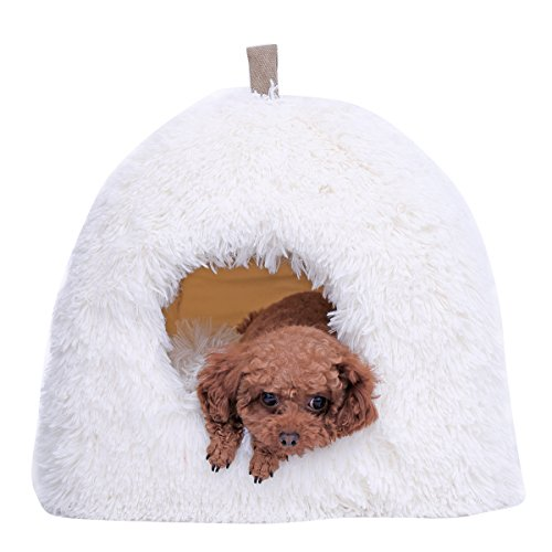 Dog Cat Beds/Tent/Cushion,Speedy Pet White Ultra Soft Plush Warm Puppy Cats Mat Cushion Bed Cave for Small Medium Pets,Pet (Soft Tent)