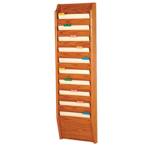 DMD Chart and File Holder, Tapered Bottom Wall Mounted, 10 Pocket, Letter Size, Medium Oak Wood