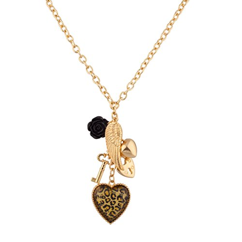 Lux Accessories Leopard Animal Print Key Lock Wing Heart Black Rose Charm Necklace