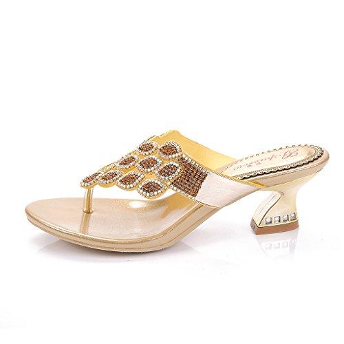 gs Sandals Gold Women's Fashion Evening Slippers T027 Wedding Glitter Heels Doris Rhinestones Dress q40w7wx