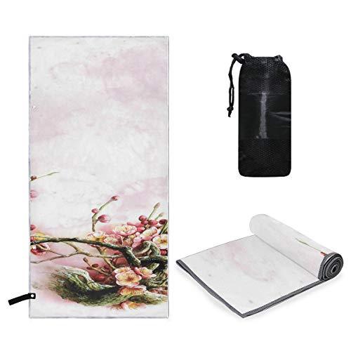 Microfiber Towel Flower Watercolor Small & Lightweight Microfiber Travel Towels, XL Yoga Large Gym Beach Sport Towel 63 x 31.5 inch -