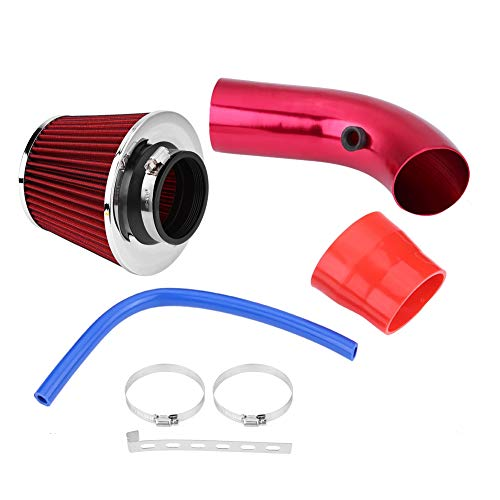 Qiilu Cold Air Intake Hose, 76mm 3 Inch Universal Car Cold Air Intake Filter Aluminum Induction Hose Pipe Kit Air Intake Filter Turbo(Red):