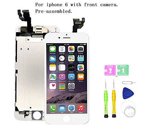 Screen Replacement Compatible with iPhone 6 4.7 inch Full Assembly - LCD Touch Display Digitizer with Ear Speaker, Sensors and Front Camera, Fit Compatible with iPhone 6 (White) from SDYXJ
