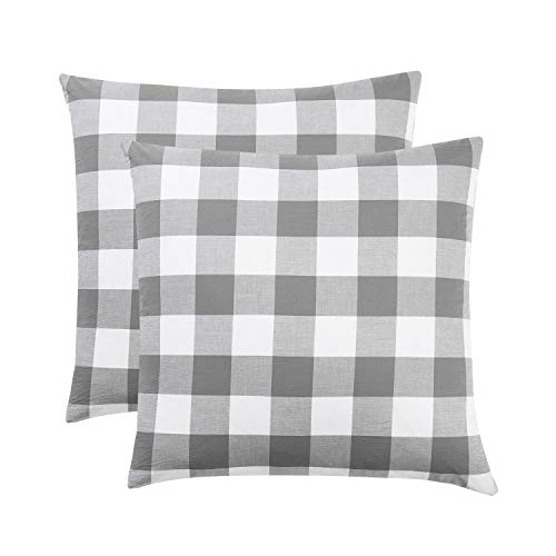 Wake In Cloud - Pack of 2 Pillow Cases, 100% Washed Cotton Pillowcases, Grey Gray White Buffalo Checker Gingham Geometric Plaid Pattern (European Size, 26x26 Inches) - Pillow European Sham