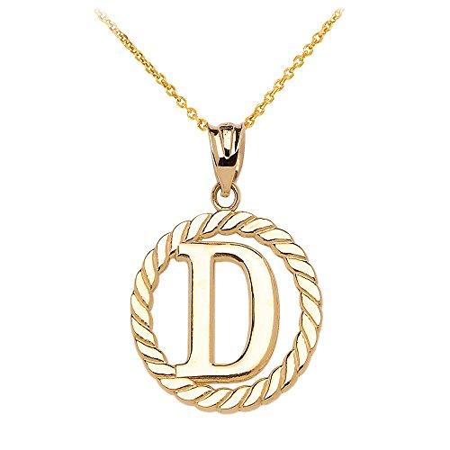 """Collier Femme Pendentif 10 Ct Or Jaune """"D"""" Initiale À Corde Cercle (Livré avec une 45cm Chaîne)"""
