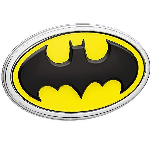 Fan Emblems Batman Logo 3D Car Emblem Black/Yellow/Chrome, DC Comics Automotive Sticker Decal Badge Flexes to Fully Adhere to Cars, Trucks, Motorcycles, Laptops, Windows, Almost Anything